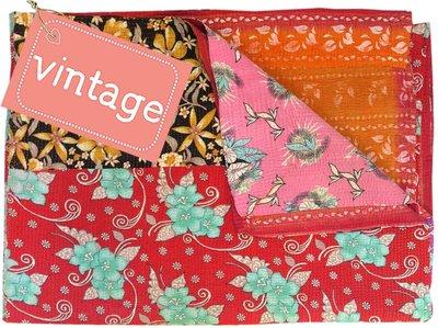 deken kantha quilt vintage katoen -patchwork retroflower
