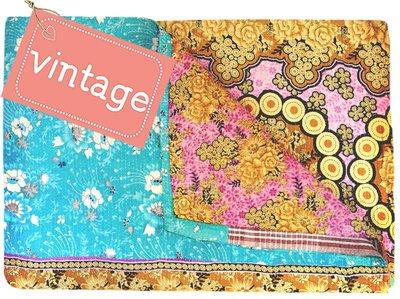 UITVERKOCHT deken kantha quilt vintage katoen -retroflower baroque
