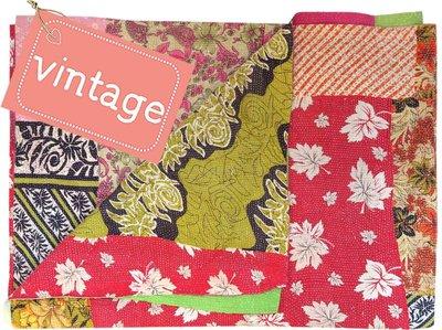 deken kantha quilt vintage katoen -patchwork retro fine stitch