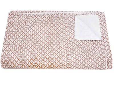 sprei tweepersoons blockprint -warm taupe/off white