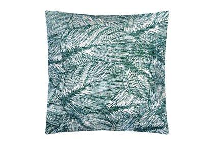 sierkussenhoes katoen 50x50 print jungle leaf -petrol