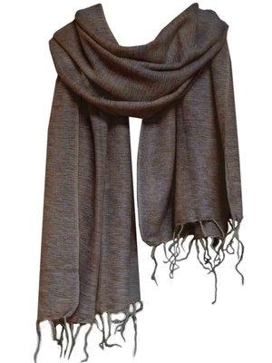 omslagdoek/sjaal wolmix/katoen zwart/beige gemêleerd