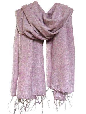 omslagdoek-sjaal wolmix/katoen lila/grijs gemêleerd