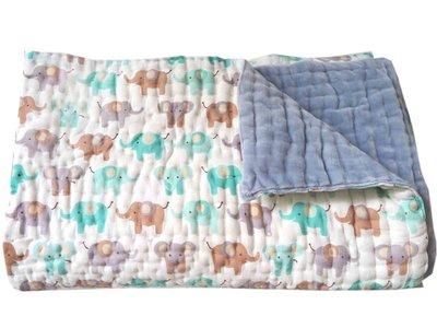 deken quilt peuter/kind -olifantenprint /grijsblauw fluweel