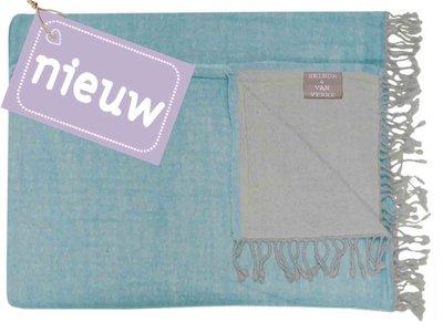 deken reversible wol -lichtblauw/grijs