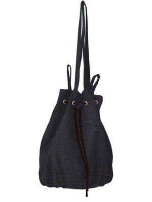 tas buidel/schoudertas katoen- diep donkerblauw mêlee