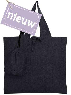 tas shopper met opberghoes katoen- nachtblauw