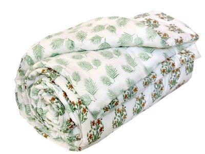 deken quilt eenpersoons reversible blockprint -groen met cognac op wit
