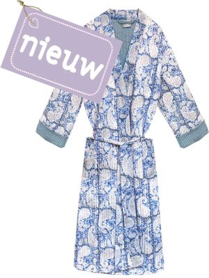 kimono quilted katoen -blue blockprint on white/ paisley print