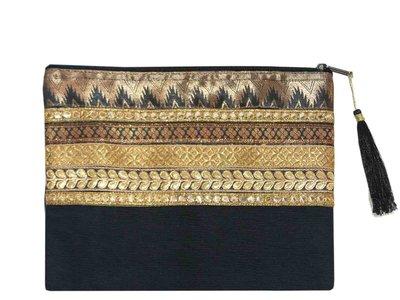 etui clutch katoen lurexband -zwart/goud-brons Boho style