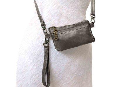 tas portemonnee leer -silver metallic