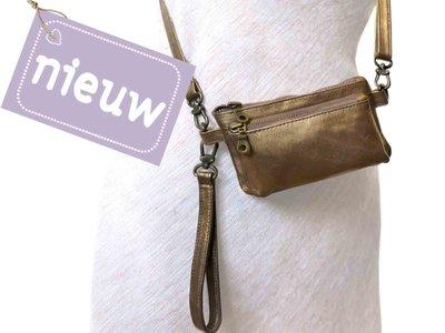 tas portemonnee leer -bronze metallic