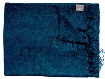deken wolmix/katoen gemêleerd blauw/zwart