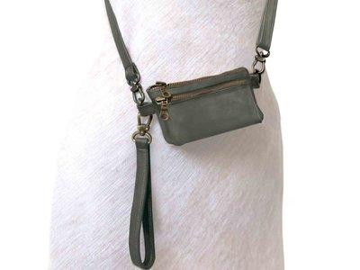 tas portemonnee leer small- dark olive green