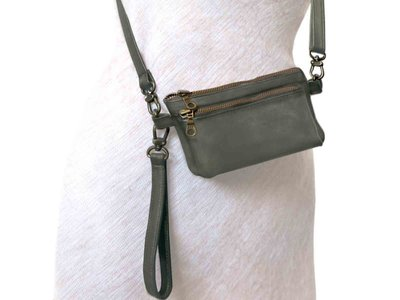 tas portemonnee leer medium- dark olive green
