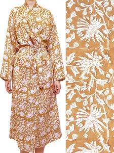 kimono katoen -karamel op wit blockprint