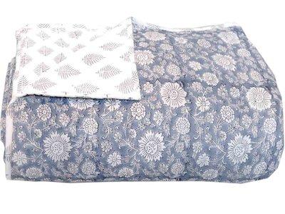 deken quilt tweepersoons reversible blockprint -blauwgrijs/grijs