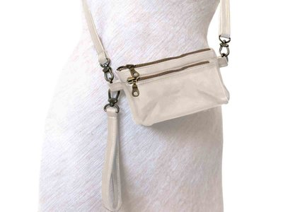 tas portemonnee leer medium- cream