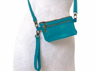 tas portemonnee leer medium- dark turquoise