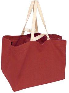 tas XL dubbel handvat zware katoen-roodbruin