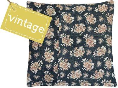 sierkussen hoes XL 60x60 vintage 2 - retro hearts & flowers beige on black
