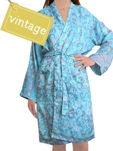 kimono recycled silk 5 - classic branches with pastel flowers in rose / lilac / lavender on aqua blue