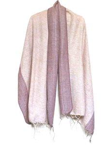 sjaal/omslagdoek mixed wool-sierrand - warm sand