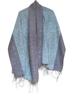 sjaal/omslagdoek mixed wool-sierrand - denim blue