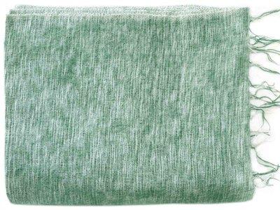 deken-plaid wolmix/katoen-4 gemêleerd bladgroen