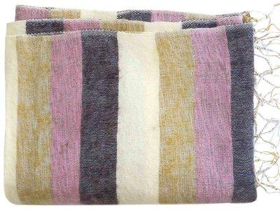 deken-plaid wolmix/katoen-6 gemêleerd oker/roze/bruin streep