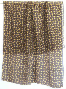 sjaal zijde-2 met print oker/zwart