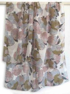 sjaal zijde-4 met print roze/oker/zwart