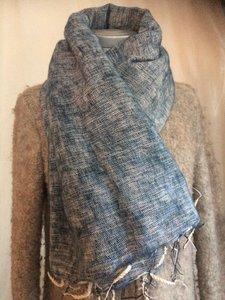 sjaal/omslagdoek mixed wool - denim blue