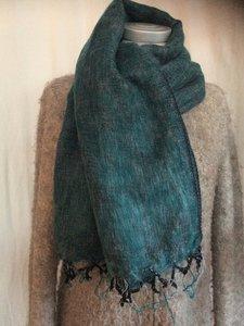 UITVERKOCHT-sjaal/omslagdoek mixed wool - petrol/grey