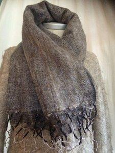 sjaal/omslagdoek mixed wool - brown/grey