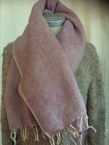 sjaal/omslagdoek mixed wool -pink/grey