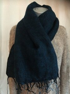 sjaal/omslagdoek mixed wool -dark turqoise/black