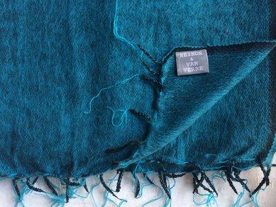 deken-plaid wolmix/katoen gemêleerd turqoise/zwart