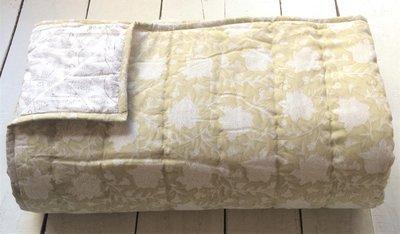 deken quilt eenpersoons reversible blockprint -licht beige-geel/grijs