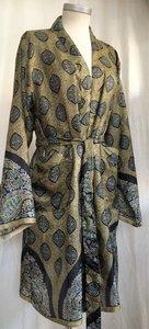 kimono recycled silk 2- olijfgroen/zwart bladprint