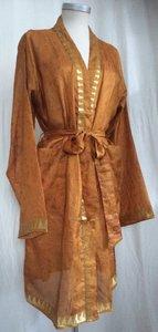 VERKOCHT-kimono recycled silk 4- warm oranje