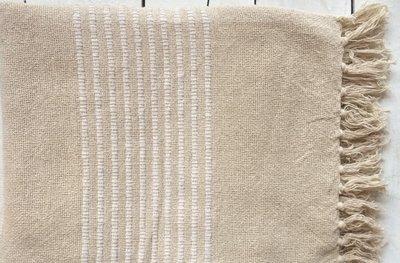 plaid handwoven cotton natural/white