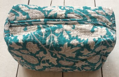 toilettas blockprint XL soft turqoise/wit