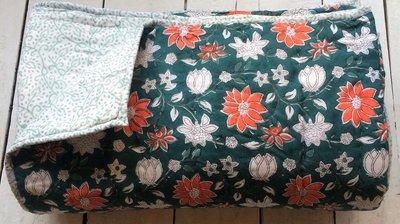 deken quilt eenpersoons reversible blockprint -groen-wit-oranje/lichtgroen
