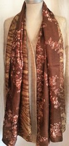 sjaal vintage recycled silk 2-reversible-bruin-roze-beige