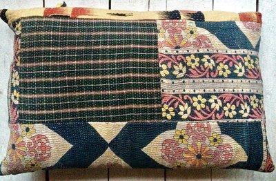 sierkussen 60x40 vintage 1 - patchwork oud roze-zwart-geel
