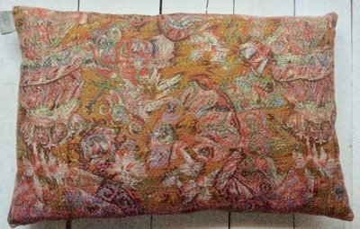 UITVERKOCHT-sierkussen vintage zijde/katoen 3 -multicolour abstract