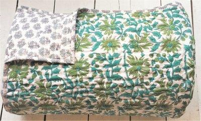 UITVERKOCHT-deken quilt tweepersoons reversible blockprint -groen-aqua/blauw/grijs