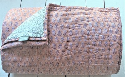 deken quilt tweepersoons reversible blockprint -koraalroze/grijs