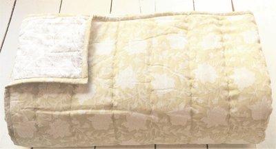 deken quilt tweepersoons reversible blockprint -licht beige-geel/grijs